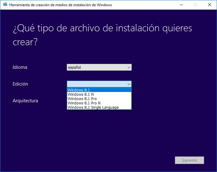 Herramienta de creación de medios Windows 8.1
