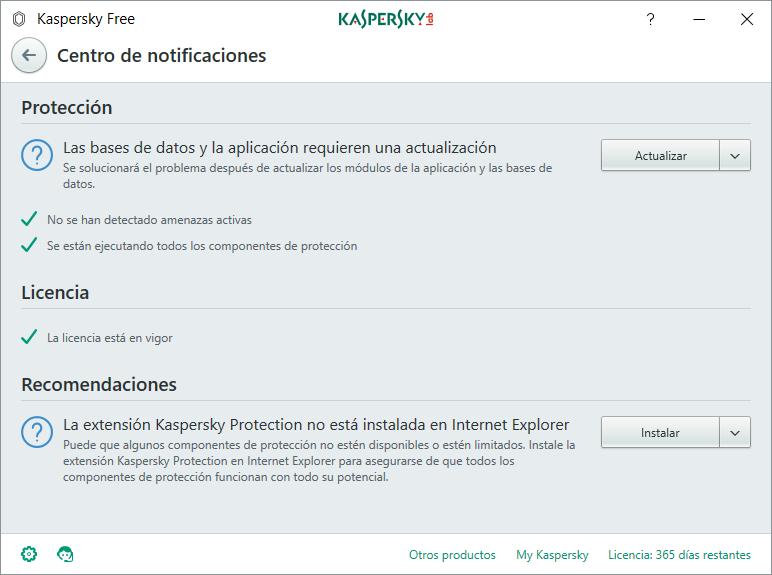 Centro notificaciones kaspersky