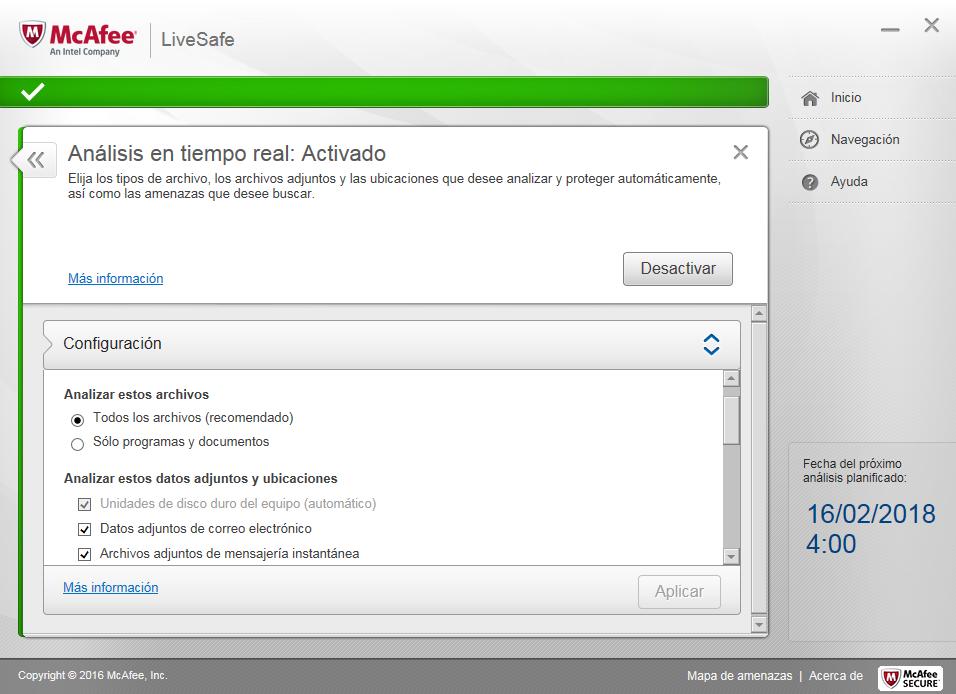 McAfee AntiVirus Plus Análisis en tiempo real