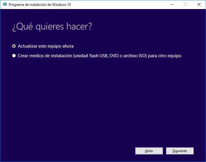 Programa instalación Windows 10