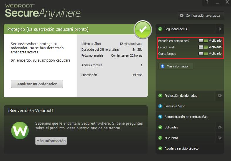 Webroot SecureAnywhere para PC y Mac