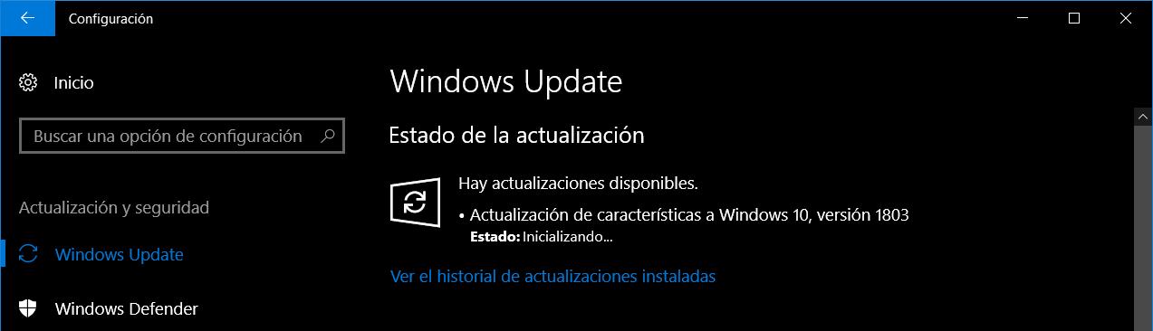 Actualización Windows 10 april 2018