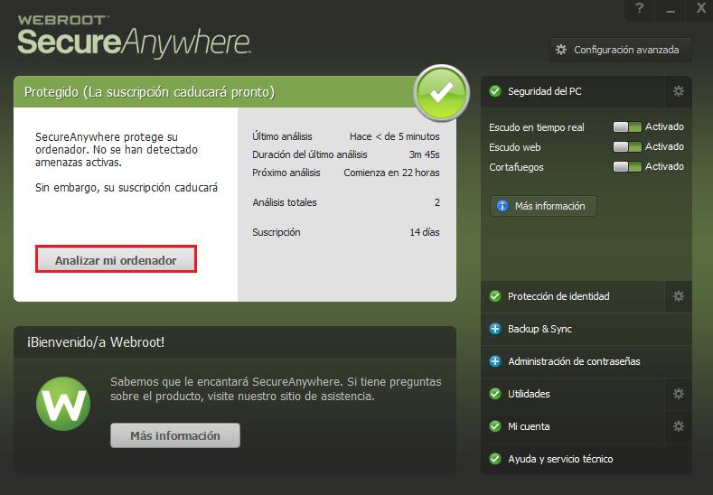 Escáner Webroot SecureAnywhere